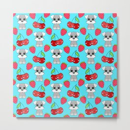 Cute little happy grey little baby Schnauzer puppies, yummy red sweet summer strawberries and funny Kawaii cherries light pastel blue fruity pattern design. Metal Print