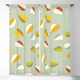 Mid Century Modern Graphic Leaves Pattern 1. Vintage green Blackout Curtain