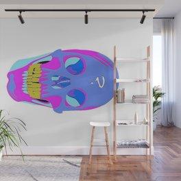 Neon Pixel Psychaedelic Halloween Skull  Wall Mural