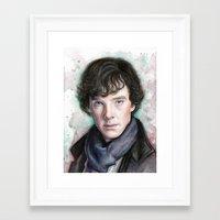 sherlock holmes Framed Art Prints featuring Sherlock Holmes by Olechka