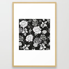 Black White Peony, Roses and Cosmos Flowers Elegant Summer Pattern Framed Art Print