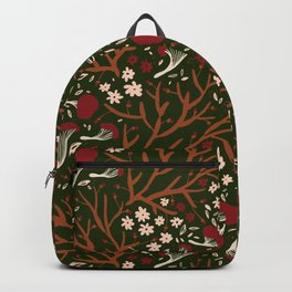 red mushrooms on green Backpack