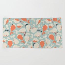 Whales 003 Beach Towel