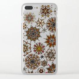 vintage mandala snowflakes Clear iPhone Case