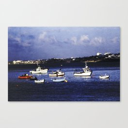 Portugal fishing harbour digital painting  Canvas Print