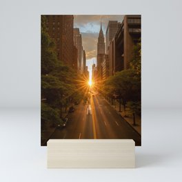 ManhattanHenge - sun setting along 42nd Street Mini Art Print