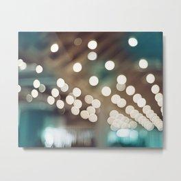 Teal Brown Abstract Light Photography, Turquoise Bokeh Sparkle Lights Art Print, Aqua Abstract Photo Metal Print