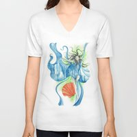 zodiac V-neck T-shirts featuring Zodiac - Aquarius by Simona Borstnar