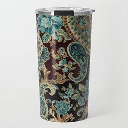 Brown Turquoise Paisley Travel Mug