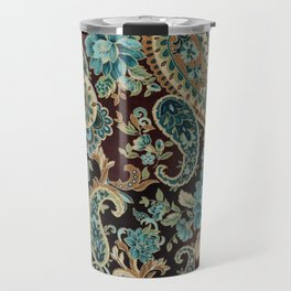 Brown Turquoise Paisley Travel Mug