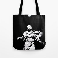 guns Tote Bags featuring Holy Guns by MRCRMB