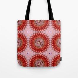 Living Coral Floral Madala Tote Bag