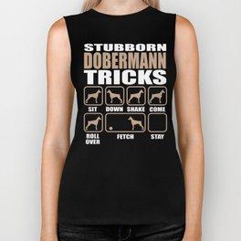 Stubborn Dobermann Tricks design Biker Tank