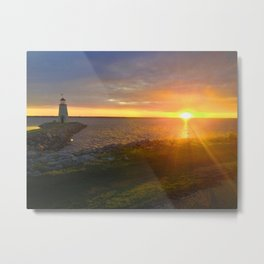Lighthouse and Sunet Over the Water Metal Print