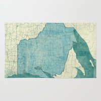 wisconsin Area & Throw Rugs featuring Wisconsin State Map Blue Vintage by City Art Posters