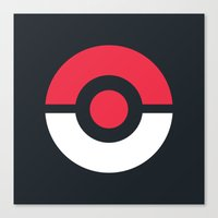 pokeball Canvas Prints featuring Pokeball by brane