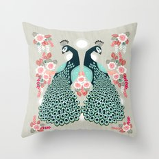 Peacocks by Andrea Lauren  Throw Pillow