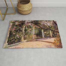 Almond Trees & Wild Rose Blossoms by Georges Antoine Rochegrosse Rug