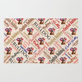 English Bulldog Puppy Word Art Rug