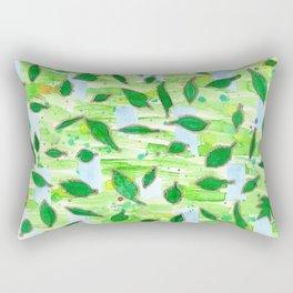 Modern Fresh Leaves Pattern in High Format Rectangular Pillow