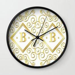 gold letter b Wall Clock