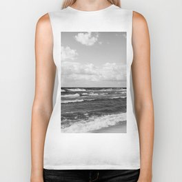 Wavy Day on the Lake in Black and White Biker Tank