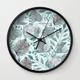 Watercolor Leaf And Succulent Pattern Wall Clock
