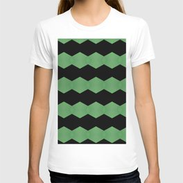 Green and Black Pattern, Acrylic painting by Saribelle T-shirt