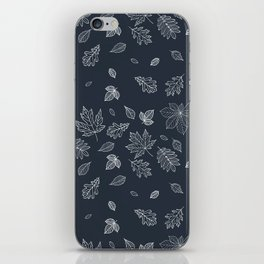Pastel navy blue white hand painted autumn leaves iPhone Skin