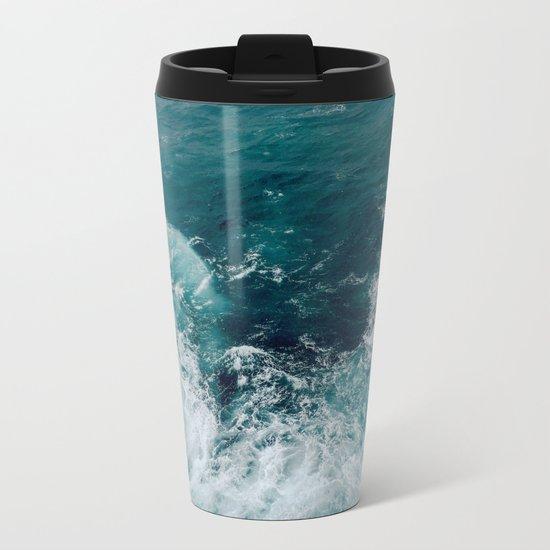 Ocean Waves (Teal) Metal Travel Mug