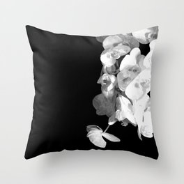 White Orchids Black Background Throw Pillow