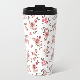 Folk floral pattern. Pink Flowers. Travel Mug