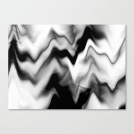 Black and White Gradient Abstract Wavy Chevron Gray Mountain Scenic Pattern Design Minimalistic Canvas Print