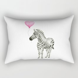 Zebra with Balloon Animal Watercolor Whimsical Animals Rectangular Pillow