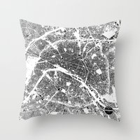 paris Throw Pillows featuring PARIS by Maps Factory