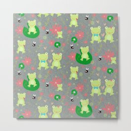 Froggie Friends Forever Metal Print