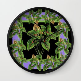 Decorative Green Tropical Botanical Foliage  Lilac-Black Art Wall Clock