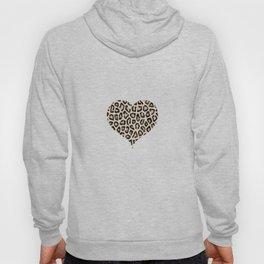 Cheetah Pattern Heart Leopard Fur Heart Shape Animal Print Hoody