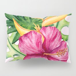 Tropical Hibiscus Summer Bouquet Pillow Sham