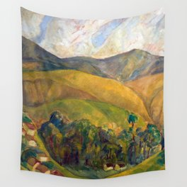 Diego Rivera - Pyrenees Mountains Catalonia, Spain landscape painting Wall Tapestry