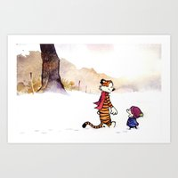 calvin and hobbes Art Prints featuring Calvin and Hobbes 1# by Frank Deuce