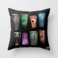 monsters inc Throw Pillows featuring Monsters by Pao Designs