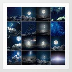 Moon Collage Art Print