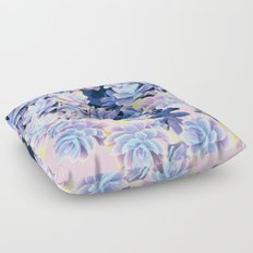 Cactus Fall - Blue and Pink Floor Pillow
