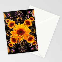 BLACK GOLDEN YELLOW SUNFLOWERS  VIGNETTE Stationery Cards