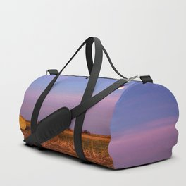 Hay Bales Under the Super Blue Blood Moon in Oklahoma Duffle Bag