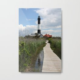 Fire Island Light With Reflection - Long Island Metal Print