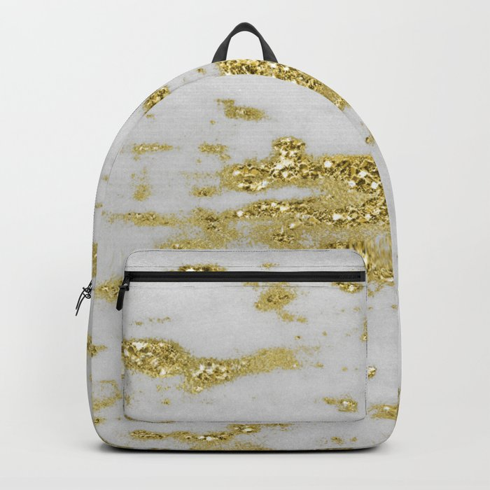 Marble - Glittery Gold Marble on White Design Backpack