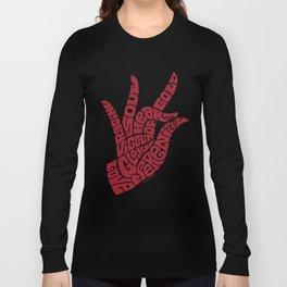 Heart Hand Warm Red Long Sleeve T-shirt