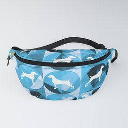 RETRO BLUE AND WHITE WEIMARANER CIRCLES Fanny Pack